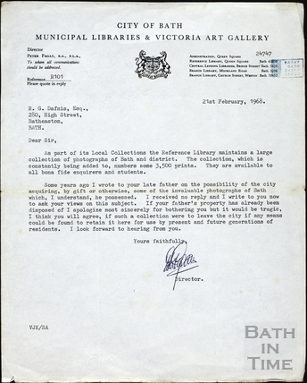 Letter from the Director of Victoria Art Gallery and Municipal Libraries to Mr R. G. Dafnis Feb 1968