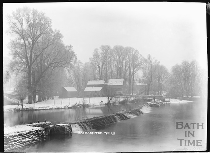 Bathampton Weirs in winter, c.1920s