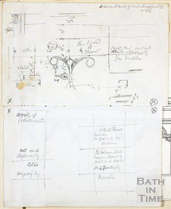 Sketches of detail on n. wall of aisle, Bradford-on-Avon Church