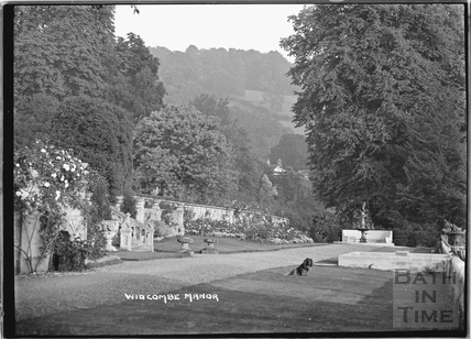Widcombe Manor garden with dog c.1929