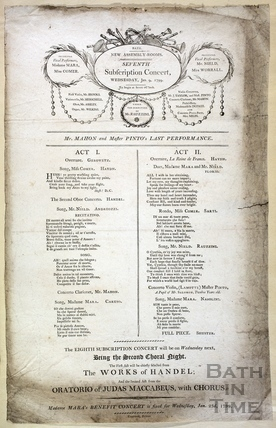 New Assembly Rooms concert programme, Wednesday January 9, 1799