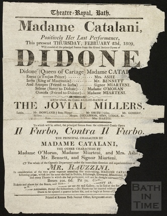 Theatre Royal Playbill, The Opera Didone, Thurs Feb 23rd, 1809