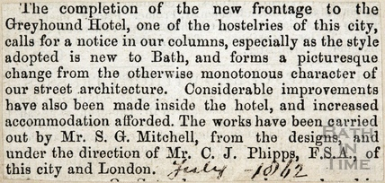 Newspaper cutting re. new facade to the Greyhound Hotel, High Street July 1842