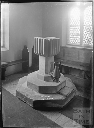 The font, Wingfield Church c.1932