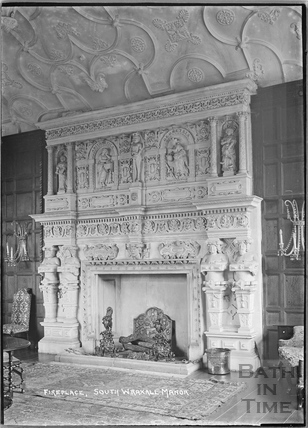 The fireplace at South Wraxall Manor c.1935