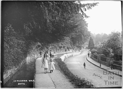 Children playing beside the brook at Lyncombe Vale c.1921