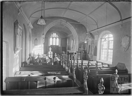 Inside the church at Wingfield c.1932