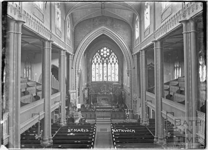 Inside St Mary's Church, Bathwick c.1912