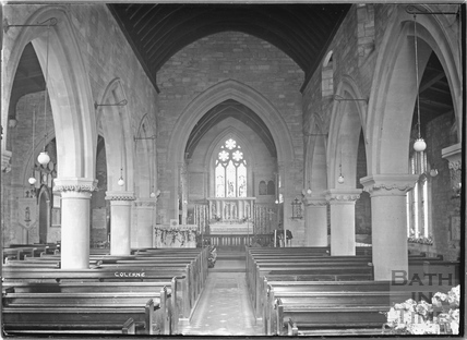 Inside St John the Baptist church at Colerne c.1935
