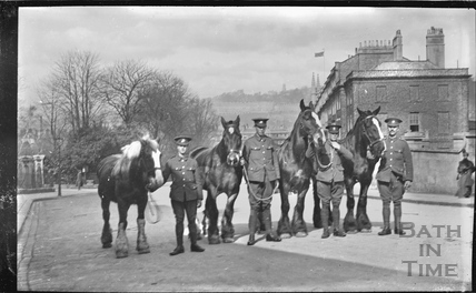 Troops and horses at Raby Place, Bathwick Hill c.1920s