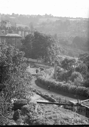 View of the Kennet and Avon Canal from Sydney Buildings, Bath c.1950