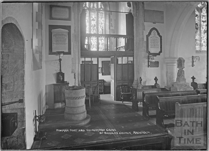 Norman font and churchyard cross, St Nicholas' Church, Radstock c.1938
