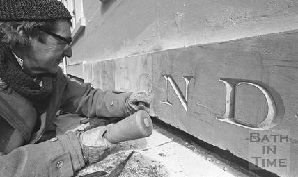 Architectural letter cutter Peter McLennan carving a street name March 1987