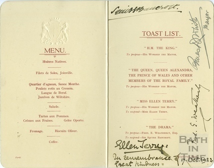 Menu and Toast List, Ellen Terry at the Guildhall 17 Oct 1922
