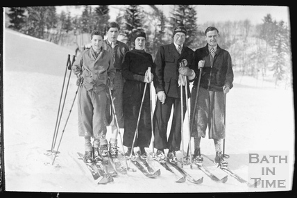 Group photograph of skiing party, c.1920s