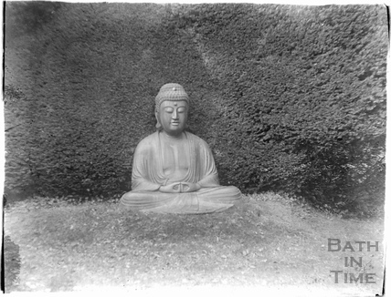 Buddha garden stature, thought to be in Cheney Court c.1920s