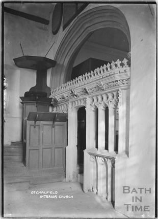 Great Chalfield Church interior c.1922