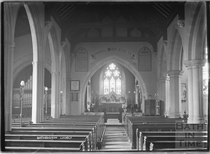 St John the Baptist Church, interior, Batheaston c.1920s