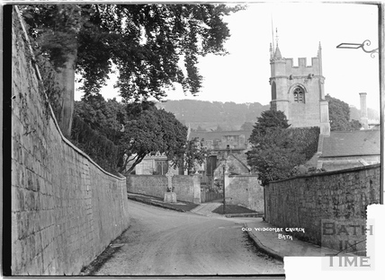 Old Widcombe Church from Church Road, showing war memorial c.1920s