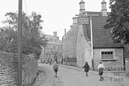 Children playing in the street outside the Fox and Hounds, Colerne c.1933 - detail