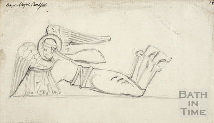 Sketch of stone angel from Saxon Church, Bradford on Avon c.1875