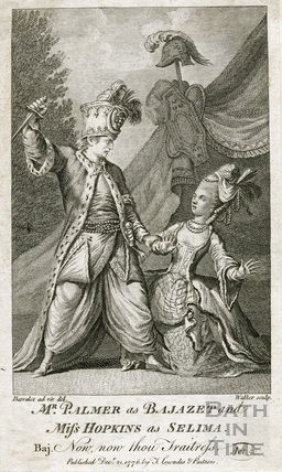 John Palmer Jr c.1742-1798, actor as Bajazet and Miss Hopkins as Selima 1776