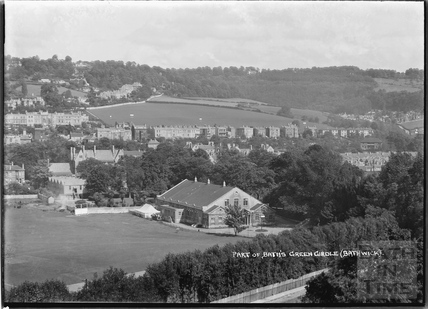 View of the Recreation Ground, Pavilion, Darlington Place and Sydney Buildings, Bath, July 1938