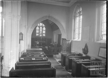 Westwood church, interior, c.1931