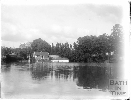 The Cricket Ground, in flood c.1930s