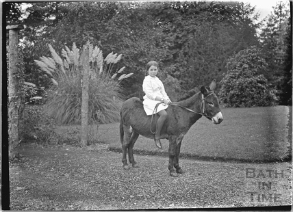 Girl on a donkey, Hinton Charterhouse c.1930s