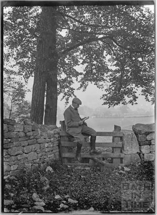 Self portrait on stile c.1910