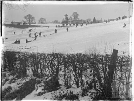 Tobogganing on the field behind Sydney Buildings, winter 1928 - 1929
