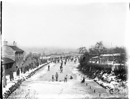 Skating on the Kennet and Avon Canal, Bathwick, Bath winter 1928-1929