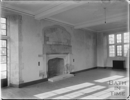 Fireplace inside Hinton Priory, Hinton Charterhouse, c.1930s