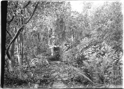 Self Portrait in garden by the stream c.1950s