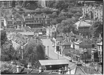 Birds eye view of Pulteney Road and Claverton Street, Widcombe 1938