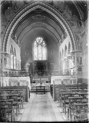 Interior of St Leonard's church, Newland, Worcs, c.1920s