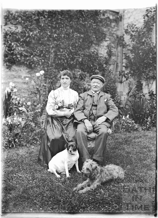 Mr & Mrs Bence with their dogs Lulu and Ruff, Batheaston c. July 1909