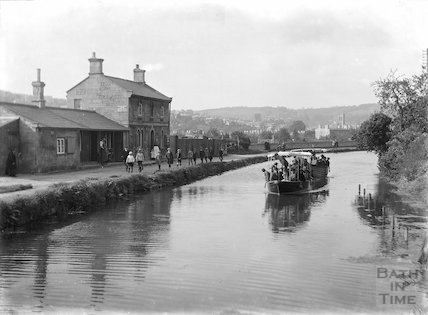 Pleasure boat on the Kennet and Avon Canal, Bathwick, Bath c.1920