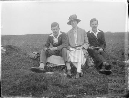 The photographer's family on Bathampton Rocks, Bathampton Down 1926