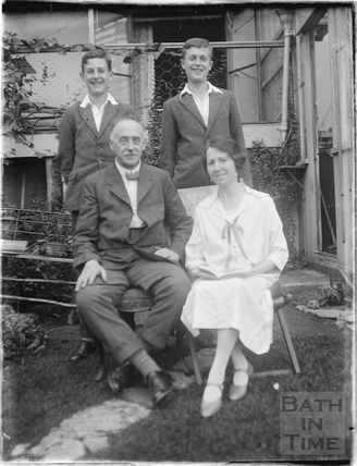 The photographer's family in the garden of 32 Sydney Buildings 1926