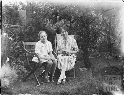The photographer's wife and friend (family?) in the back garden of 32 Sydney Buildings 1926