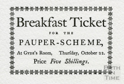 Replica of Breakfast Ticket for the Pauper Scheme, 1767, 1772 or 1778