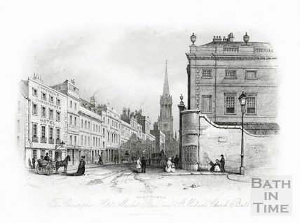 The Christopher Hotel, Market Place, High Street and St Michaels Church, Bath 1844