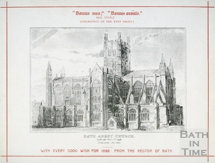 Bath Abbey Church, south side from south east angle, first published 1825