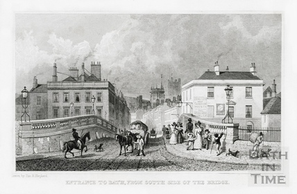 Entrance to Bath from the south side of the Old Bridge 1829