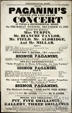 Paganini's Second and Last Grand Concert of Vocal and Instrumental Music, Theatre Royal, Bath Thurs Dec 15th 1831