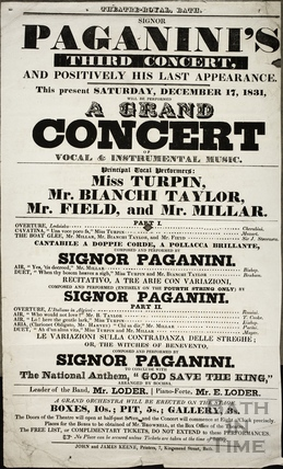 Paganini's Third and Positively his Last Appearance, A Grand Concert of Vocal and Instrumental Music, Theatre Royal, Bath Sat Dec 17th 1831