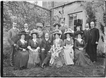 The photographer's wedding party in the back garden of the Bences, Avon House, Batheaston 1910