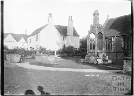 Iron Acton market cross and church c.1920s